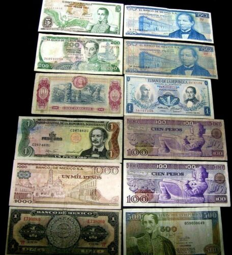 SALE - LOT OF 12 International Mix Denomination Notes- XF - AU - UNC