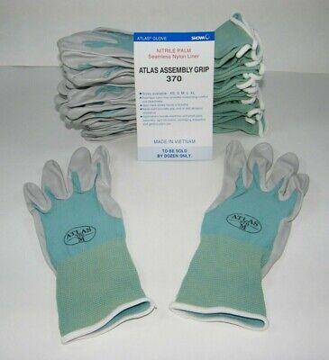 10//XXL 1 Pair SHOWA 370 Assembly Grip Nitrile Palm BLACK Gloves Sizes 5//XS