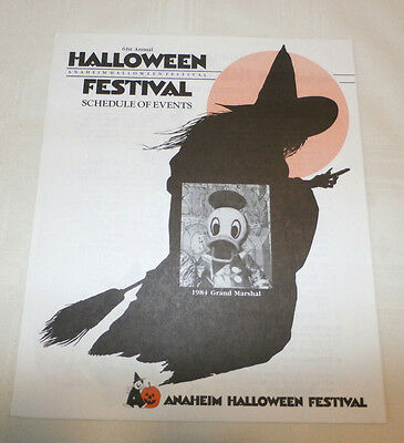 Original 1984 VINTAGE 61st Annual Anaheim Halloween Festival Schedule of Events - Origin Of Halloween Festival