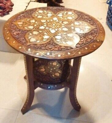 """VINTAGE ANGLO/INDIAN  PEDESTAL    BEAUTIFULLY INLAID TABLE 18"""""""