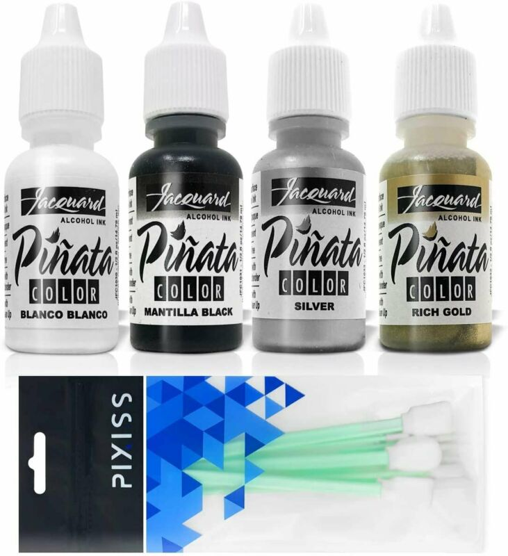 Jacquard Pinata Alcohol Inks 4 Pack Bundle, Blanco, Silver, Rich Gold,...
