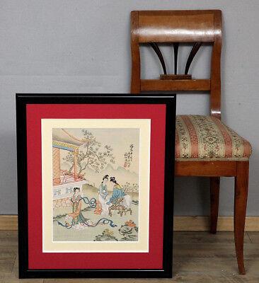 SEIDENMALEREI ANTIK CHINA ? JAPAN ? FRAU chinese ? japanese ? on silk drawing