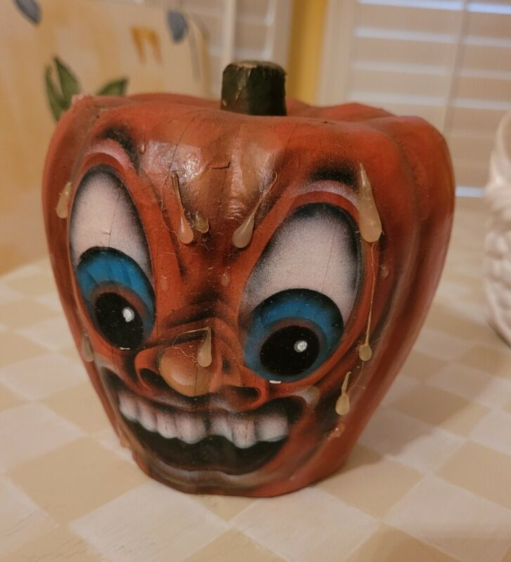 Vintage Halloween Paper Mache Jack-O-Lantern Pumpkin Scary