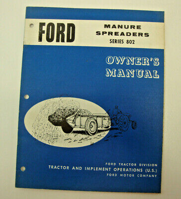 Ford Owners Manual Of The Manure Spreader Series 802