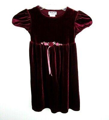 Disorderly Kids Girls Burgundy Dress Size 5 Velvet Flowers Short Sleeve  N