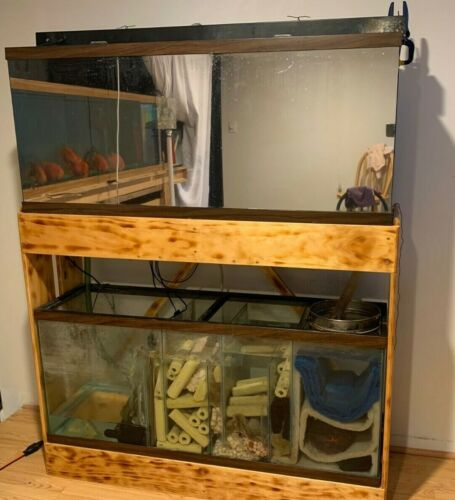55 Gal Fish Tank And 55 Gal bottom of the filter tank with real wood stand