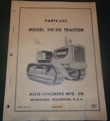 Allis Chalmers Hd-20s Crawler Tractor Dozer Parts Manual Book Catalog
