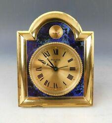 Vintage Bulova 8 Swiss Made Mid Century Modern Blue Gold Tone Shelf Table Clock