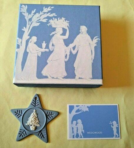 Vtg Christmas Ornament 2007 Annual Star Wedgwood Blue White Ceramic w Card & Box