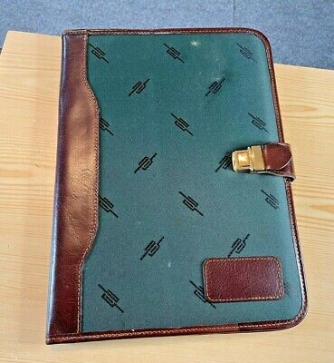 Alessandro Venzani Green Cloth And Brown Leather Portfolio Notebook Case