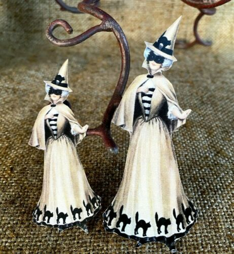 """Repro Vintage 1900s Witch Dress, Cats Halloween Cardstock Decoration, 4"""",5"""",6"""""""