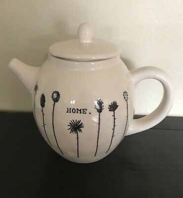 """VINTAGE M STAMPED RAE DUNN MAGENTA  """"HOME"""" TEAPOT EXTREMELY RARE"""