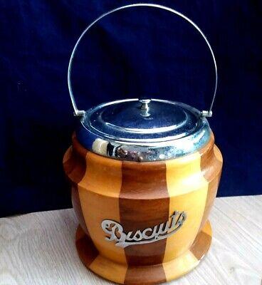 Retro Wooden Chromium Biscuit Barrel  Storage Container Kitchenware England