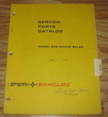 New Holland 858 Round Hay Baler Parts Catalog Manual Original Nh Book 5085810
