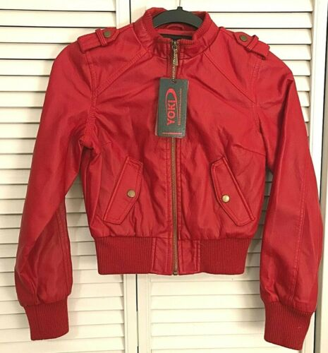 New York Yoki Youth Girls Big Kid Faux Leather Jacket Coat Outerwear Size 8 10 M