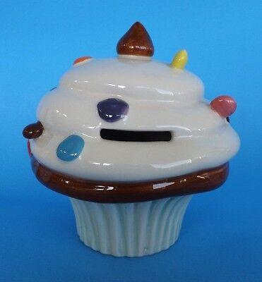 Candy Sprinkled Frosting CUPCAKE Coin Piggy BANK Porcelain Light Blue Base 4.75