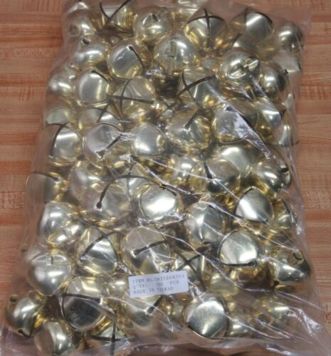 """Lot of 100 Gold 45mm 1-3/4"""" Large Metal Jingle Bells Christmas Crafts Supplies"""