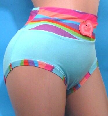 (VK'S LOVE Rainbow high cut waist Soft Stretchy pride Brief  sissy panties  L XL)