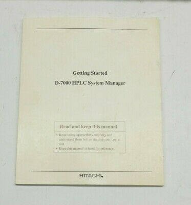 Hitachi D-7000 Hplc System Manager Getting Stared Guide V. 3.1