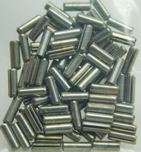 """(100-Pk) 420 Stainless Steel Slotted Roll Spring Pin 1/16"""" Dia x 3/16"""" Length NH"""
