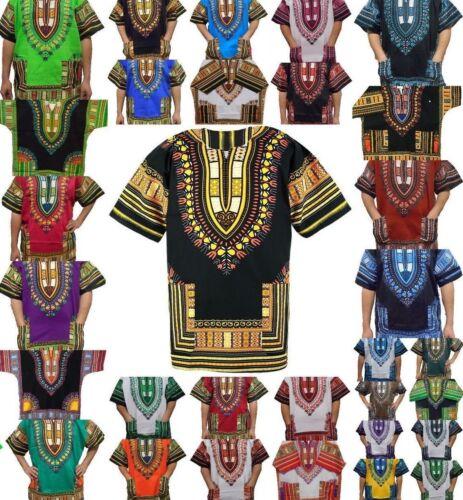 Dashiki African Mens Women Maxican Poncho Boho Hippie Ethnic Shirt Top Free Size