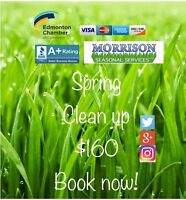 Book now residential spring clean up $160, call now!