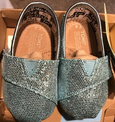 Toms Infant Classic Turquoise Glitter Tiny 4 Shoes
