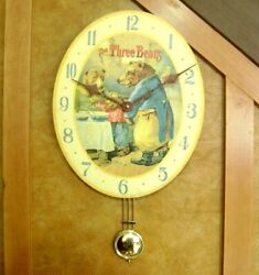 Goldilocks Three Bears Fairy Tale Wall Clock Pendulum Oval Nursery Timeworks