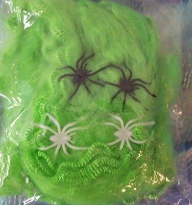 Halloween Spinnennetz grün mit Spinnen Deko Halloweendeko Spiderweb 129177913