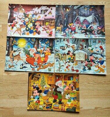 1960-70s Lot of 5 Walt Disney Advent Christmas Calendars No.17-19 & 22-23
