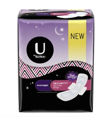 U by Kotex Overnight Security Ultra Thin Pads With Wings 14 Count
