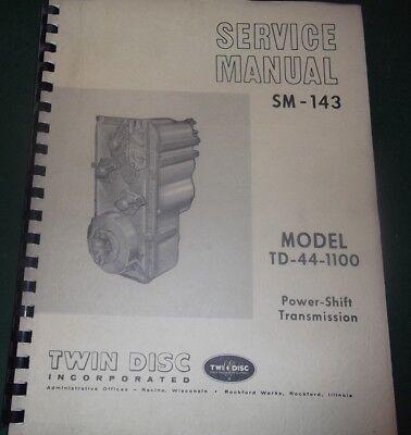 Twin Disc Td-44-1100 Powershift Transmission Service Shop Repair Workshop Manual