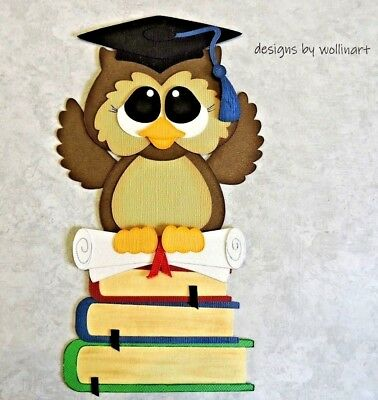 Graduation Owl Paper Piecing Die Cut Scrapbook Embellishment - Owl Scrapbook Paper