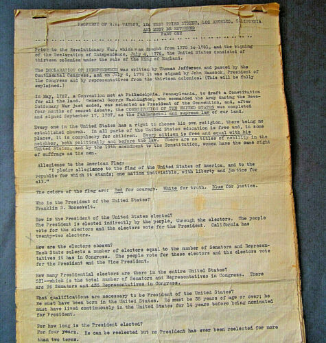 1930s  US Citizenship Test Part I  Los Angeles Franklin Roosevelt Mayor Shaw