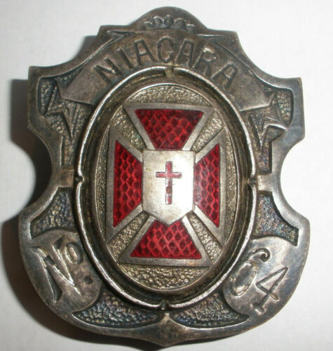 Antique Knights Templar Niagara Commandery 64 Masonic enamel belt buckle