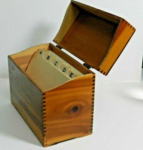 FAFbx WOOD INDEX FILING BOX, HOLDS 4 X 6 CARDS index file
