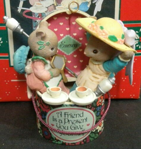 ENESCO CHRISTMAS ORNAMENT: HATS OFF TO CHRISTMAS: BEST FRIENDS MICE In Box