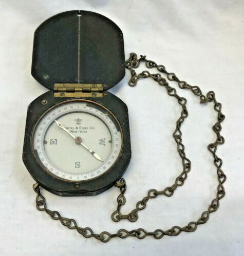 Vtg Keuffel & Esser Co. New York Large Handheld Compass On Chain Camping Tool