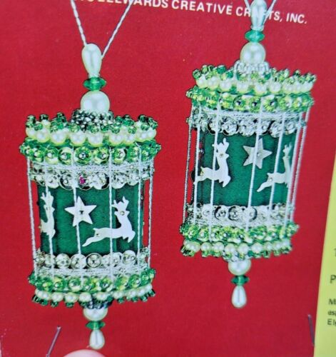 LeeWards REINDEER CAROUSEL Vintage Sequin Bead Christmas Ornament Kit NOS