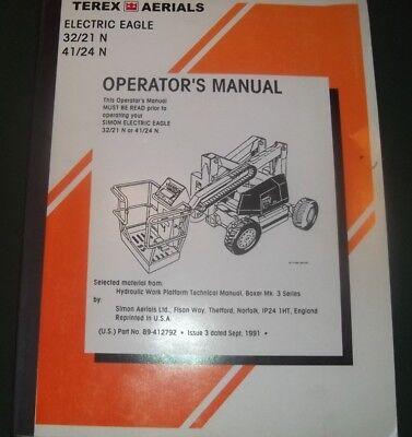 Terex 3221 4124 N Eagle Man-lift Operator Operation Maintenance Manual Book