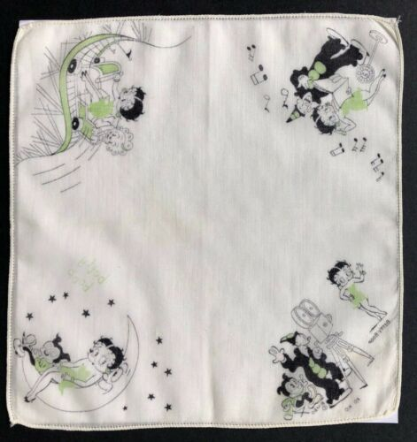 RARE Antique BETTY BOOP - BIMBO - KO KO Printed Cotton HANKERCHIEF - Circa 1930
