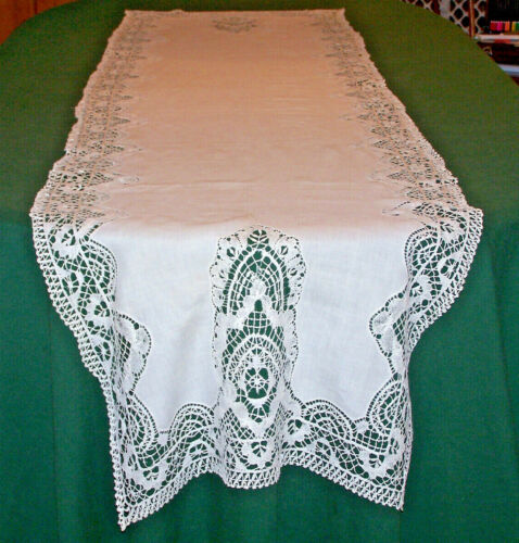 "INCREDIBLE ANTIQUE NEEDLE LACE LINEN RUNNER, 90"", HANDMADE MUSEUM QUALITY, c1910"