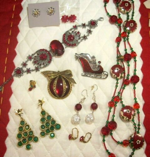VTG to MOD-Christmas Jewelry Lot-Glass-Crystal-Resin-Brooches-Earrings-Necklace