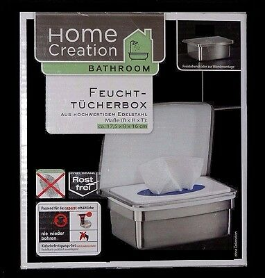 Kosmetik-Feuchttücherbox Edelstahl Feuchttücher freistehend oder Wandmontage NEU
