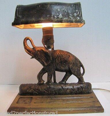 (Antique Art Deco Cast Iron Elephant Doorstop Lamp rare old figural desk dresser)