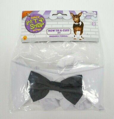 Rubie's Pet Shop Bow Tie and Cuff Set Tuxedo Wedding Costume Dog Cat Size M/L