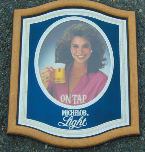 1983 Michelob Light On Tap Brunette Woman Framed Mirror Back Advertising Sign
