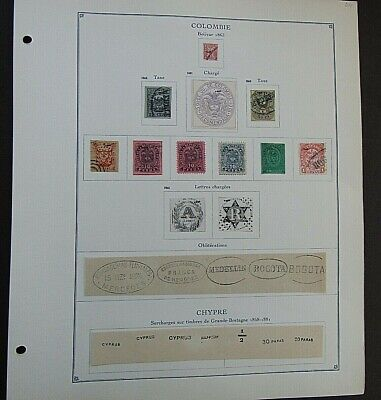 COLOMBIA - FINE COLLECTION OF EARLY FOURNIER FORGERIES ON ORIGINAL PAGE