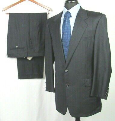 Men's Hickey Freeman Loro Piana Navy Blue Pin Striped 110s Wool Suit 42 Long
