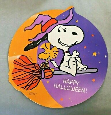LARGE VTG Snoopy Big Moon Halloween Die Cut Peanuts Hallmark CARDBOARD Cutout